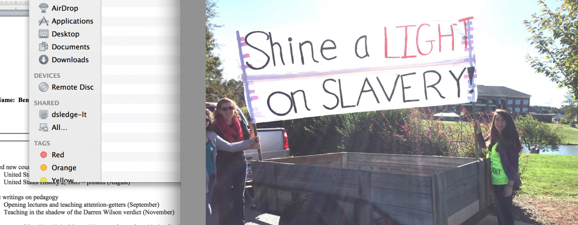 "Students at Gardner-Webb ""Shine a Light on Slavery"""